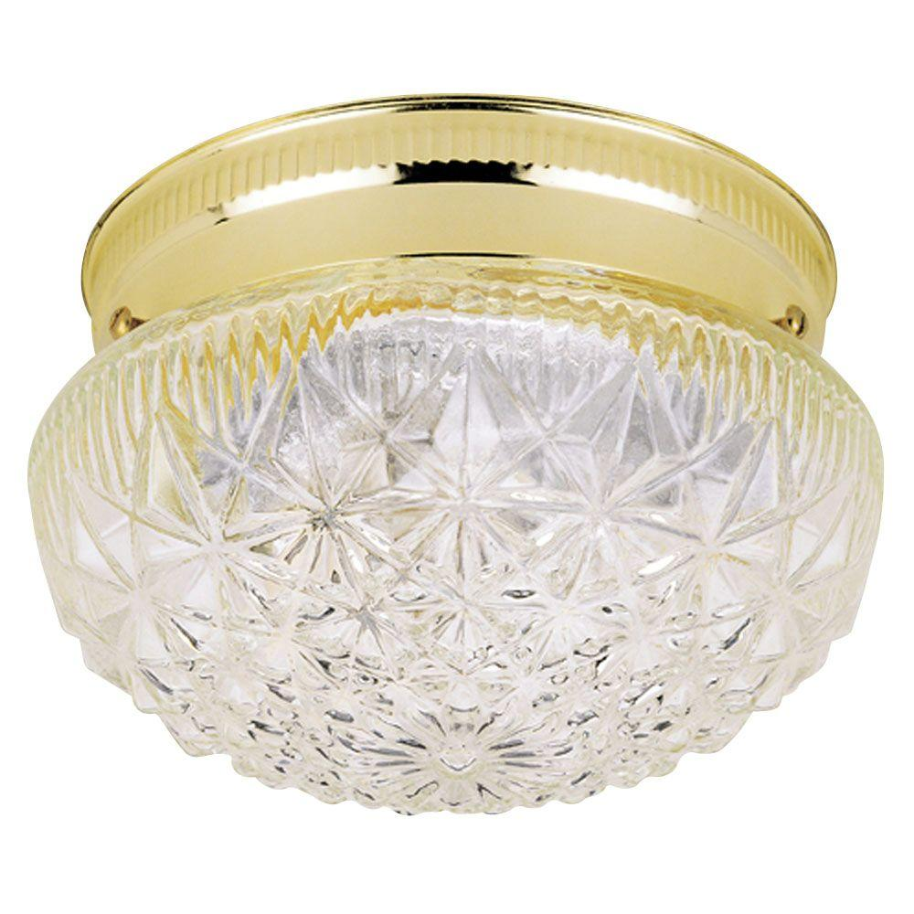 Westinghouse 1 Light Ceiling Fixture Polished Brass Interior Flush Mount With Clear Faceted Glass