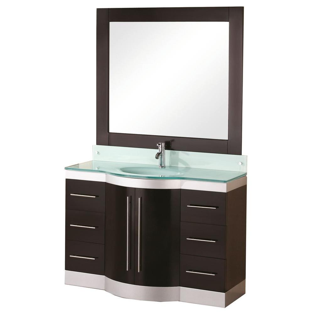 Design Element Jade 48 In W X 22 In D Vanity In Espresso With Glass Vanity Top And Mirror In