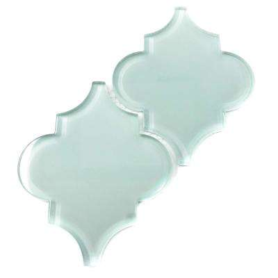 Baby Blue Arabesque 4 in. x 5 in. x 8mm Glass Backsplash and Wall Tile (0.16 sq. ft. / each)