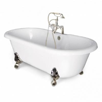 70 in. AcraStone Acrylic Double Clawfoot Non-Whirlpool Bathtub in White with Large Ball Claw Feet Faucet in Satin Nickel