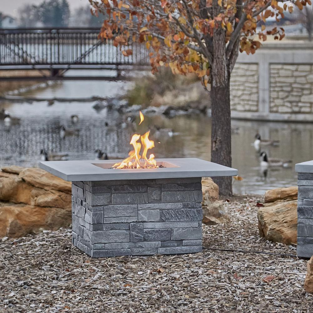 Real Flame Ledgestone 36.5 in. x 19.5 in. Square Fiber Concrete Propane Fire Pit Table in Gray Ledgestone with NG Conversion Kit