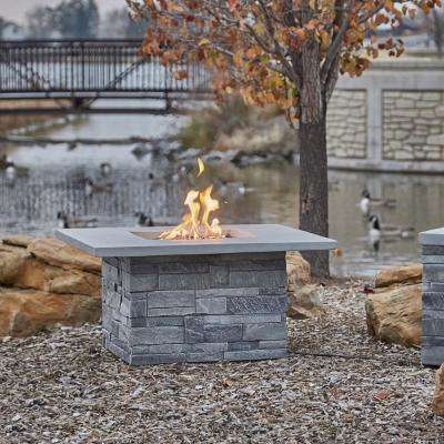 Ledgestone 36.5 in. x 19.5 in. Square Fiber Concrete Propane Fire Pit Table in Gray Ledgestone with NG Conversion Kit