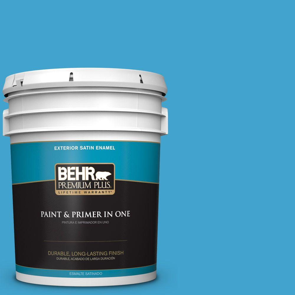 BEHR Premium Plus 5-gal. #540B-6 Sea Ridge Satin Enamel Exterior Paint