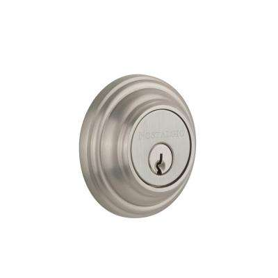 Classic Rosette 2-3/8 in. Backset Double Cylinder Deadbolt in Satin Nickel