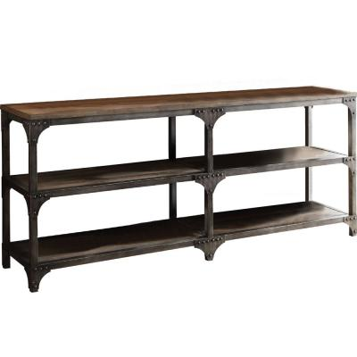 Amelia 30 in. Weathered Oak And Antique Silver Console Table