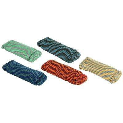 1/4 in. x 100 ft. Assorted Colors Heavy Duty Diamond Braid Polypropylene Rope