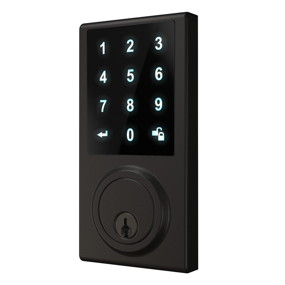 Black Touchscreen ZWave Single Cylinder Smartlock Deadbolt with Camera Gateway