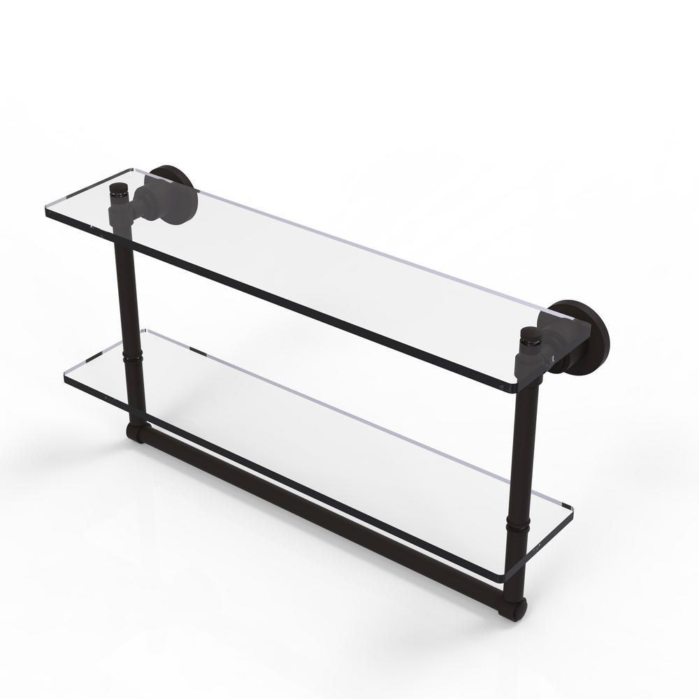 Allied Brass Washington Square Collection 22 in. 2-Tiered Glass Shelf with Integrated Towel Bar in Oil Rubbed Bronze