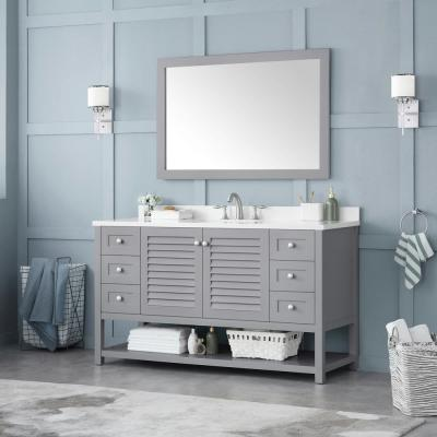 Grace 60 in. W x 22 in. D Bath Vanity in Pebble Grey with Cultured Marble Vanity Top in White with White Basin