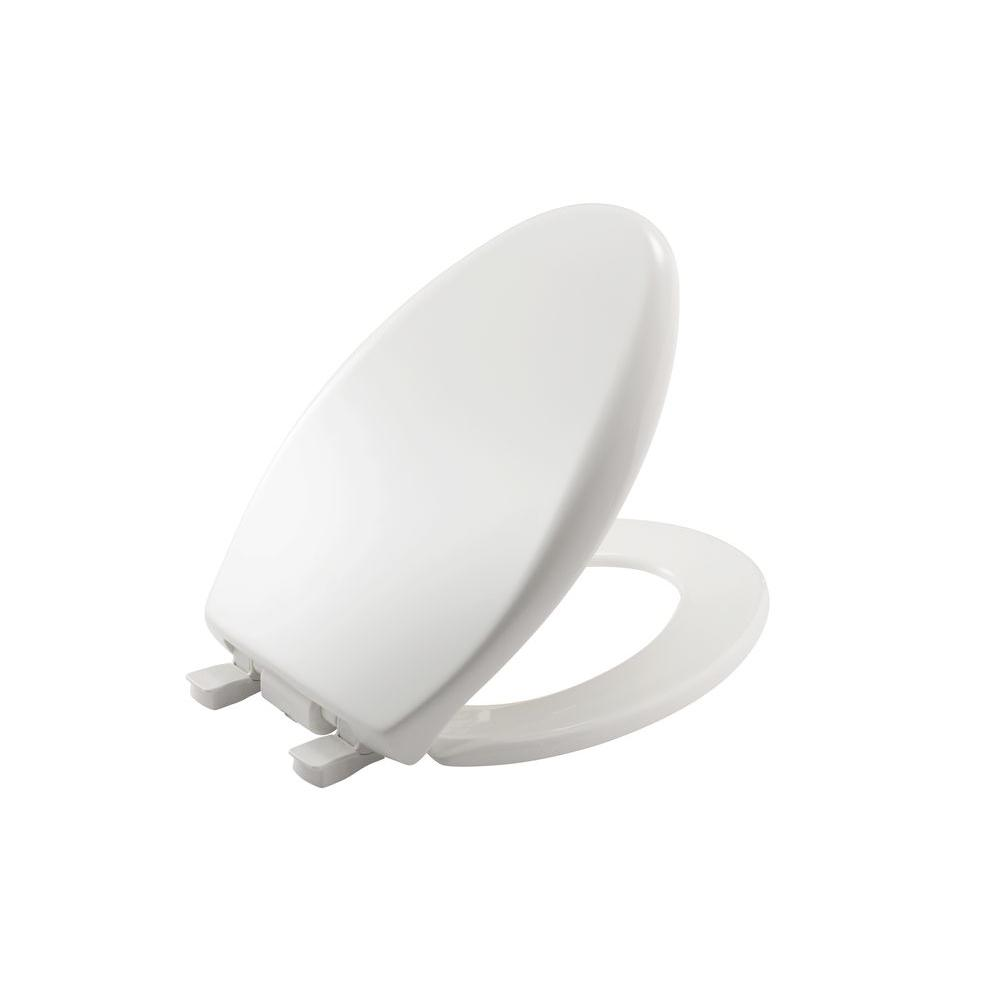 iLumaLight Night Light Elongated Closed Front Toilet Seat in White