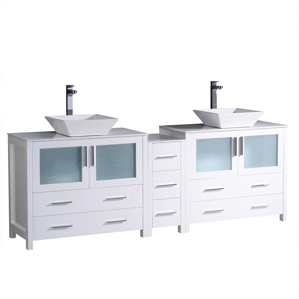 Fresca Torino 84 in. Double Vanity in White with Glass Stone Vanity Top in White with White Basins