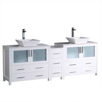 Torino 84 in. Double Vanity in White with Glass Stone Vanity Top in White with White Basins