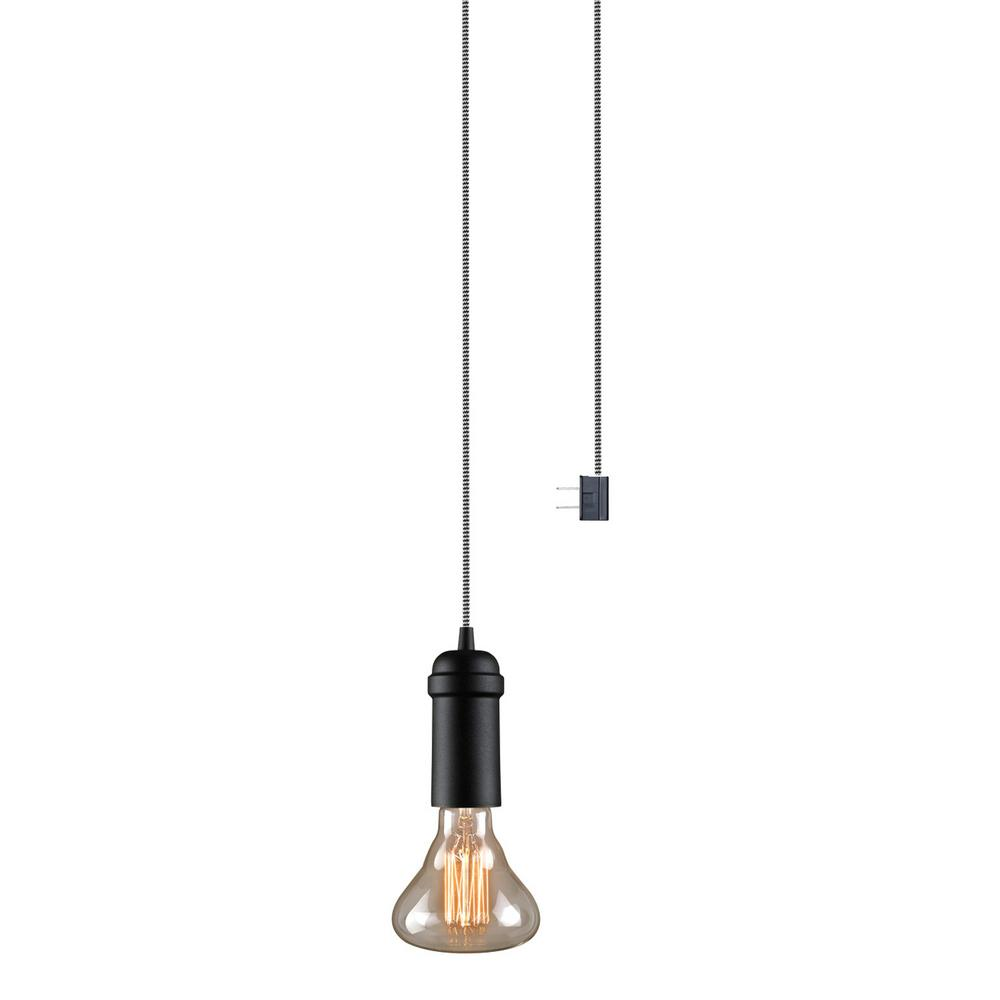 Globe Electric Edison 1 Light Matte Black Plug In Or Hardwired Vintage Hanging Socket