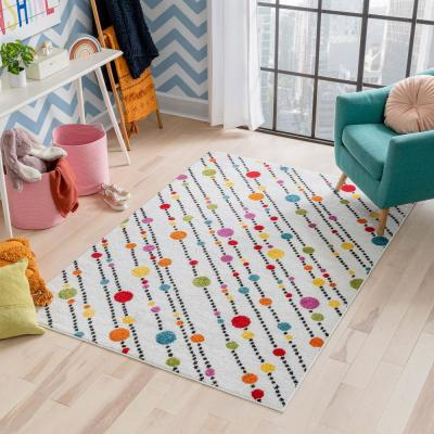 StarBright Dandy Dots and Stripes White 3 ft. x 5 ft. Kids Area Rug