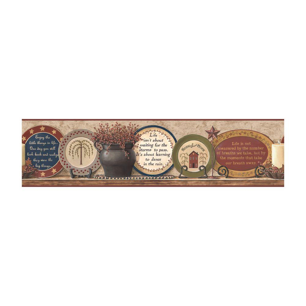 York Wallcoverings Best of Country Country Plates Wallpaper Border