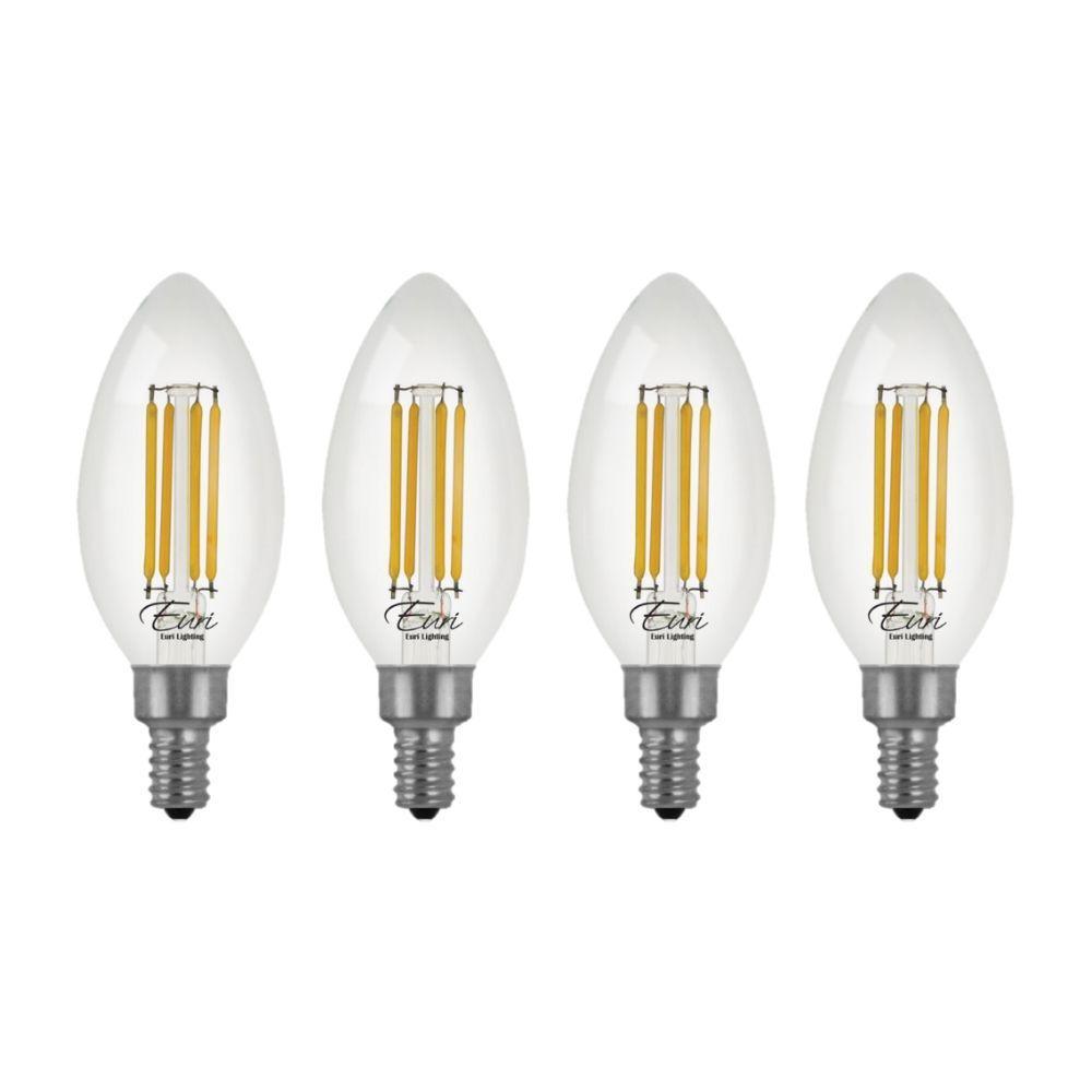 60-Watt Equivalent B10 Energy Star Dimmable Clear LED Light Bulb Warm White (2700K) (4-Pack)