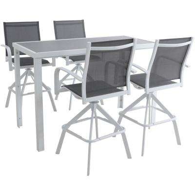 Naples 5-Piece Aluminum Outdoor Dining Set with 4 Swivel Bar Chairs and a Glass-Top Bar Table in White