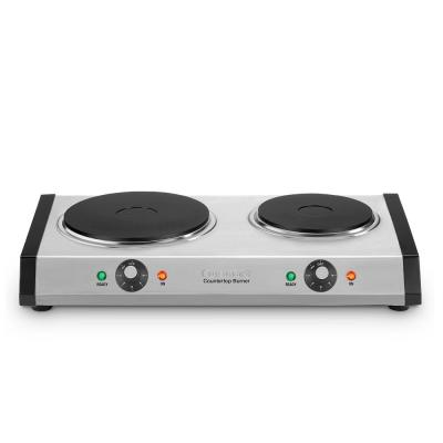 2-Burner 8 in. Cast Iron Stainless Steel Hot Plate with Temperature Control