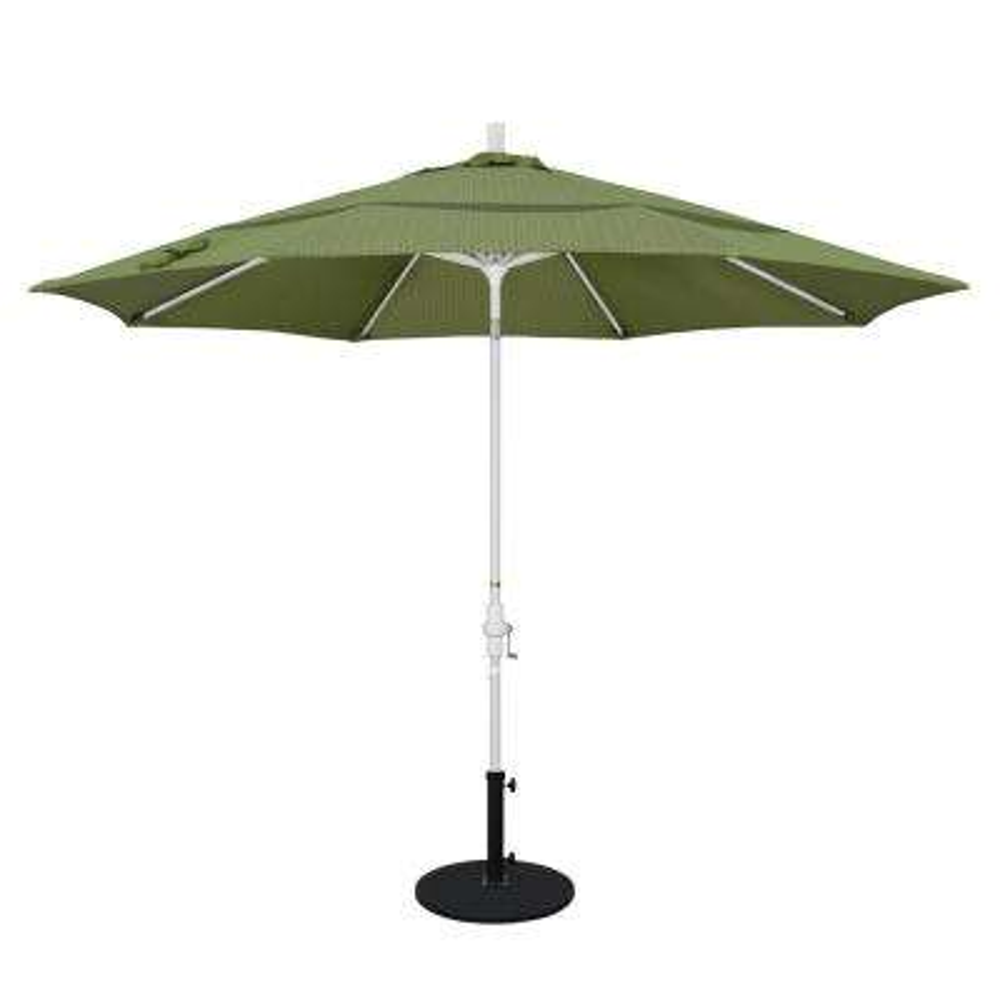 11 Ft. Aluminum Collar Tilt Double Vented Patio Umbrella In Terrace Fern  Olefin