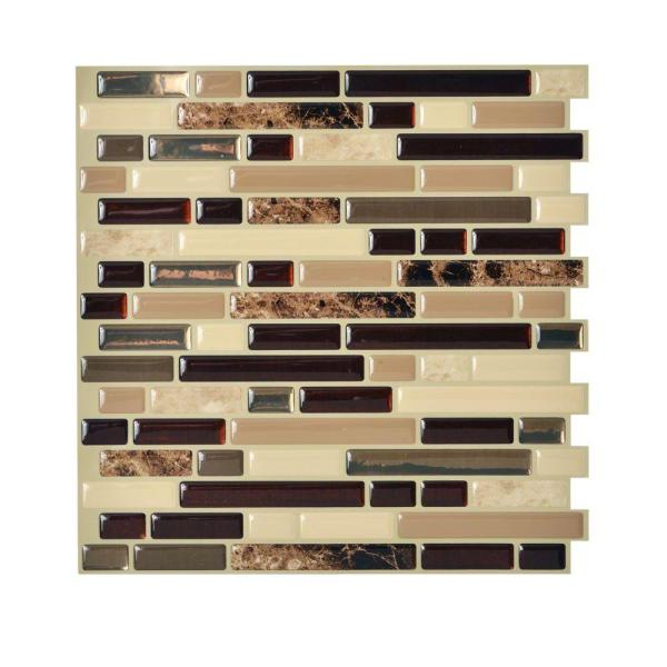 Smart Tiles Bellagio Keystone Beige 10 06 In W X 10 In H Peel And Stick Self Adhesive Decorative Mosaic Wall Tile Backsplash Sm1034 1 The Home Depot