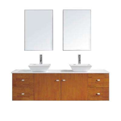 Clarissa 72 in. W Bath Vanity in Honey Oak with Stone Vanity Top in White with Square Basin and Mirror and Faucet