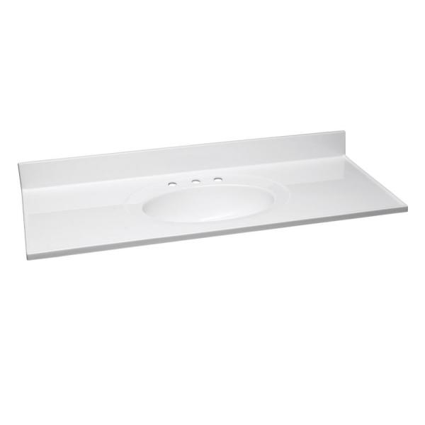 49 in. W x 22 in. D Cultured Marble Vanity Top in Solid White with Solid White Basin and 8 in. Centerset Faucet Spread