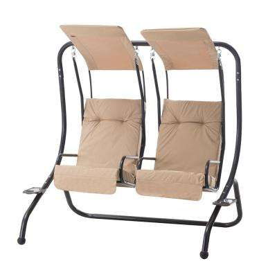 Sherborn 2-Person Steel Patio Swing with Beige Cushion