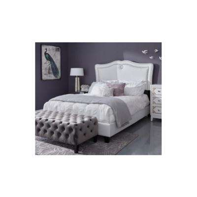 All-In-One Queen Sweetheart Shaped Upholstered Bed in Glitz Crystal White
