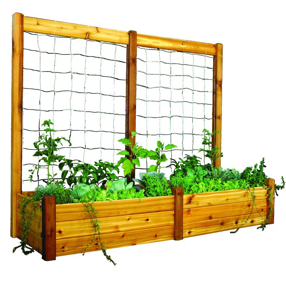 Gronomics 34 in. x 95 in. x 19 in. Raised Garden Bed with 95 in. W x 80 in. H Safe Finish Trellis Kit