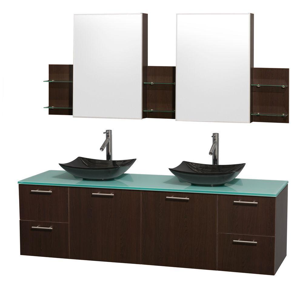 Double Vanity Wenge Brown Glass Stone Vanity Top White Mirror Photo 375