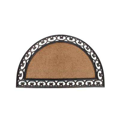 A1HC Half Round Elegant Bronze Border Beige/Brown 30 in. x 48 in. Rubber and Coir Standard Double Door Mat