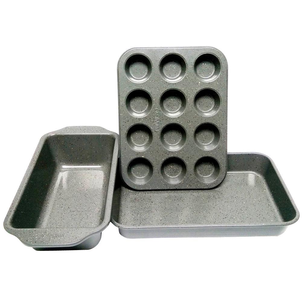 Casaware 3-Piece Silver Granite Bakeware Set