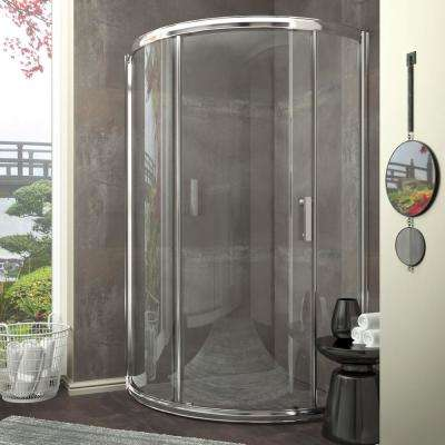 Baron Series 39 in. x 74.75 in. Framed Neo-Angle Sliding Shower Door in Polished Chrome with Handle