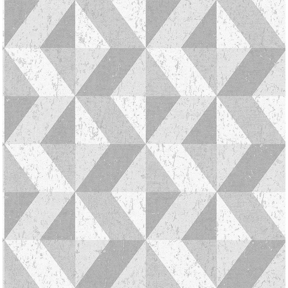 A-Street 56.4 sq. ft. Cerium Grey Concrete Geometric Wallpaper 2908-25314