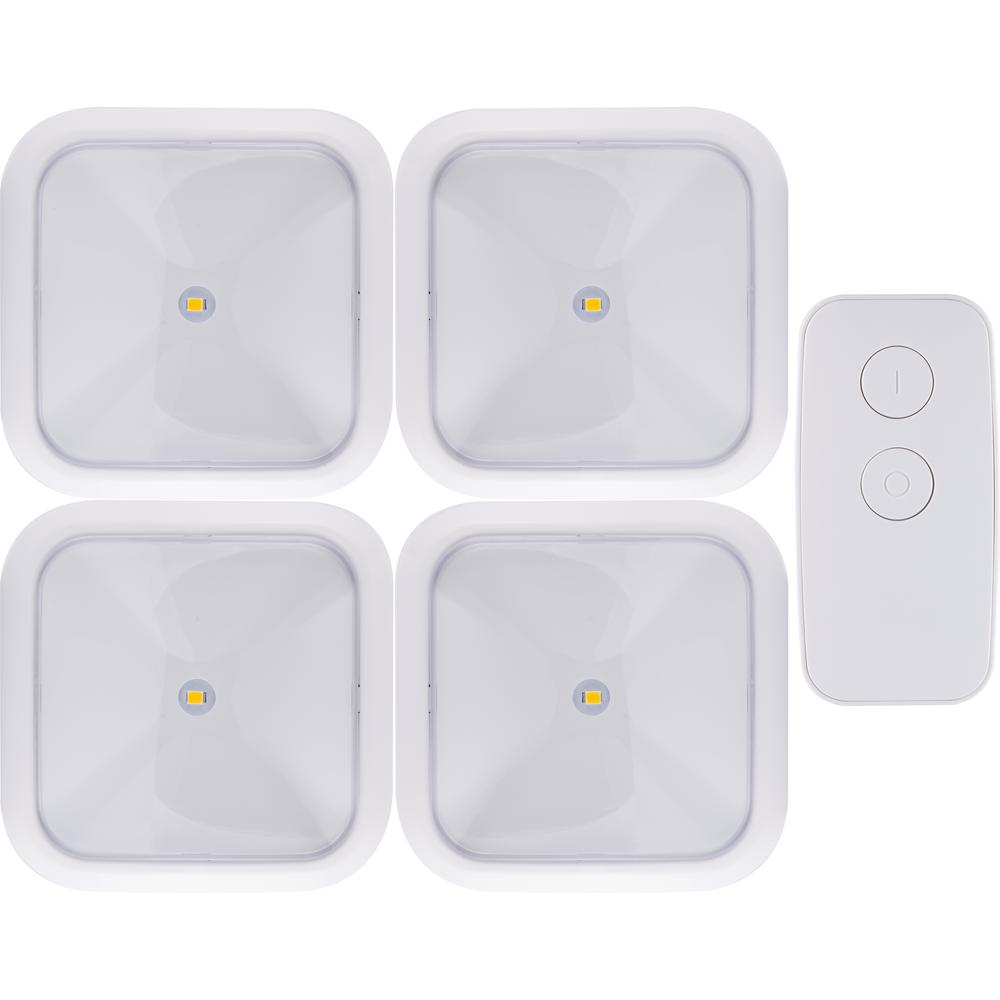 ge battery operated wireless remote led puck lights white 4 pack 38559 the home depot. Black Bedroom Furniture Sets. Home Design Ideas