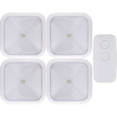 Battery Operated Wireless Remote LED Puck Lights, White (4-Pack)
