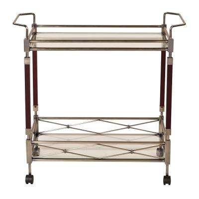 Exceptional MelroseAntique Brush Metal And Walnut Wood Serving Cart