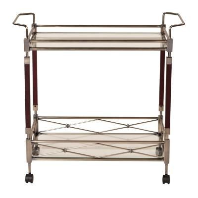 MelroseAntique Brush Metal and Walnut Wood Serving Cart