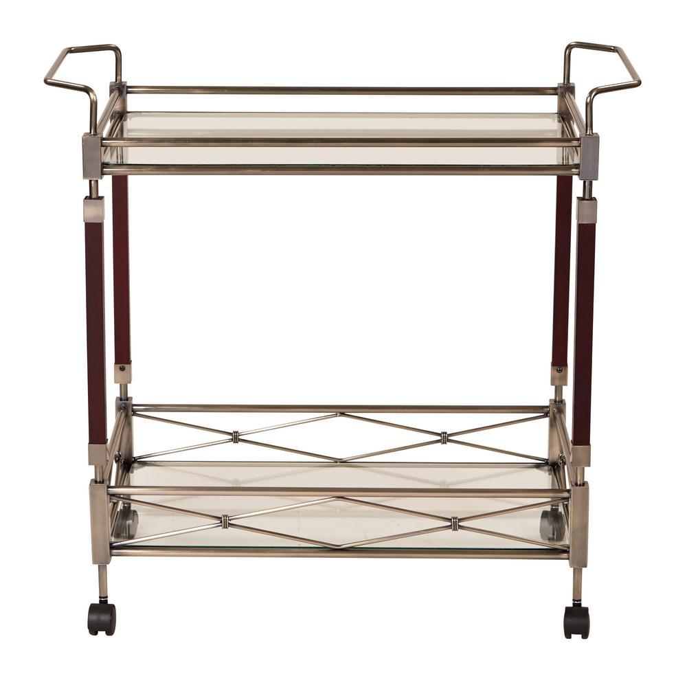 OSP Home Furnishings MelroseAntique Brush Metal and Walnut Wood Serving Cart