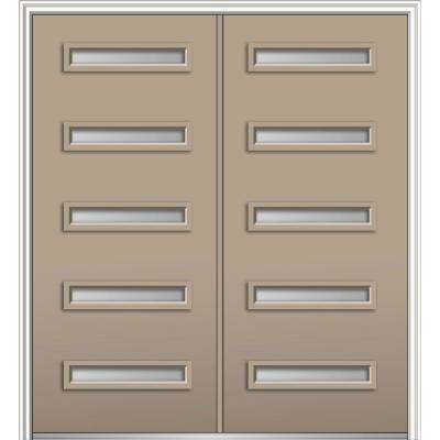 72 in. x 80 in. Davina Left-Hand Inswing 5-Lite Frosted Painted Fiberglass Smooth Prehung Front Door on 4-9/16 in. Frame