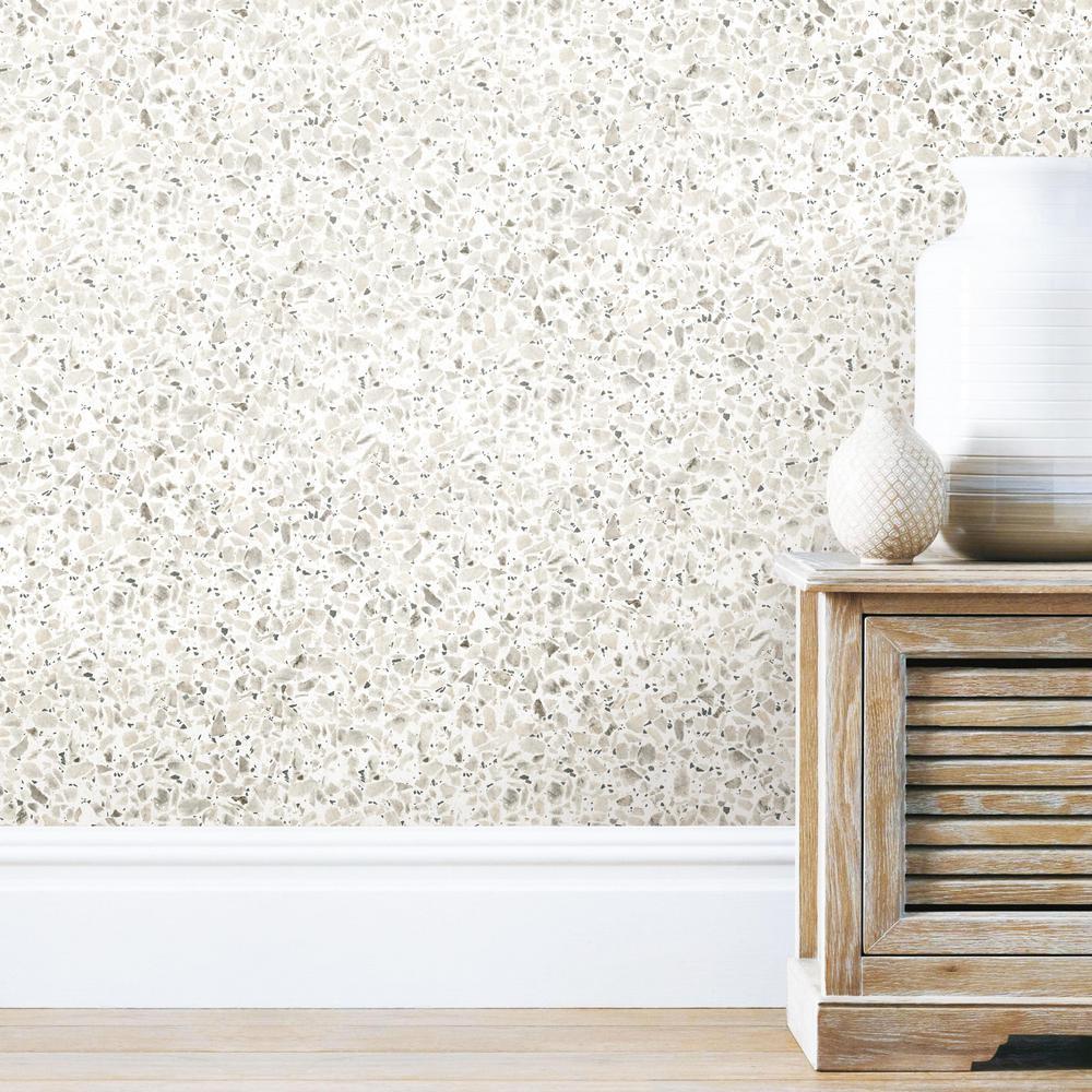 28.18 sq. ft. Terrazzo Black Colored Peel and Stick Wallpaper