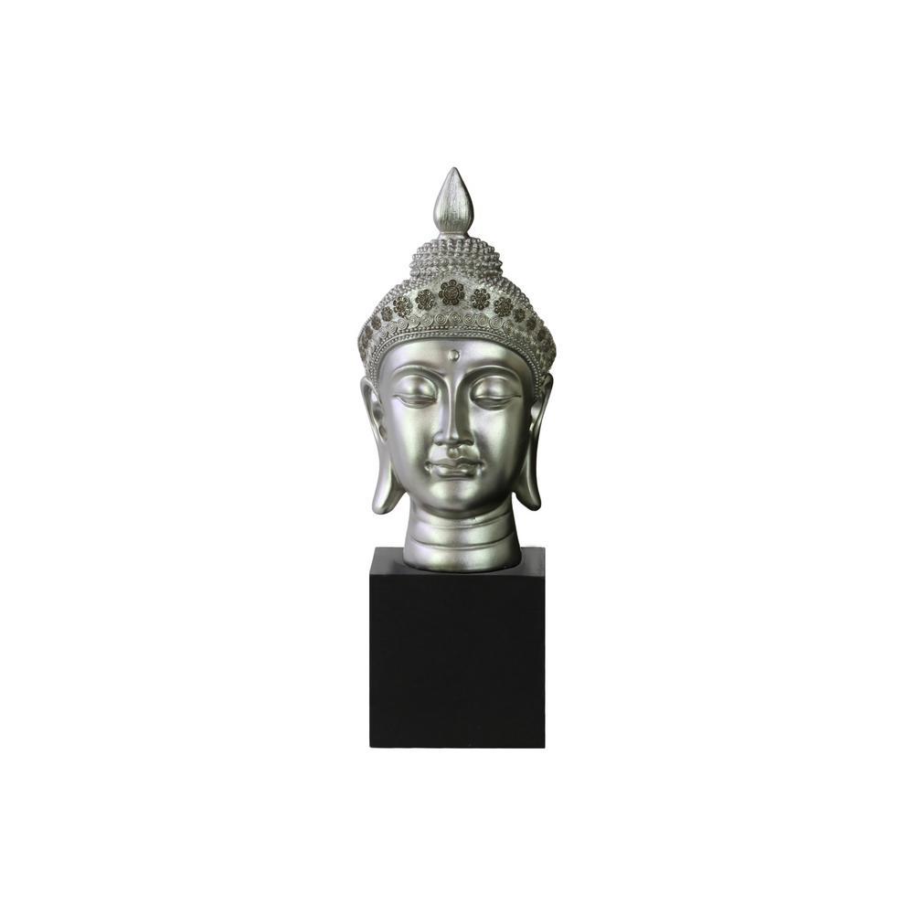 14.5 in. H Buddha Decorative Sculpture in Gray Gloss Finish