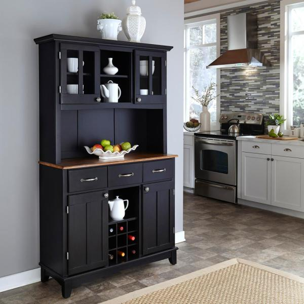 Home Styles Black Buffet with Hutch 5100-0046-42