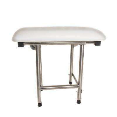 32 in. x 16 in. Rectangular Padded Folding Shower Seat with Adjustable Legs in White and Stainless Steel - ADA Compliant