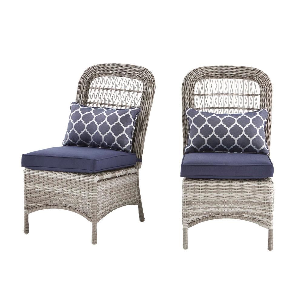 Hampton Bay Beacon Park Gray Wicker Outdoor Armless Dining Chair with Midnight Cushions (2-Pack)