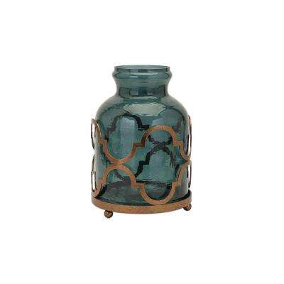 Lea 15.25 in Glass and Iron Decorative Vase in Blue and Bronze
