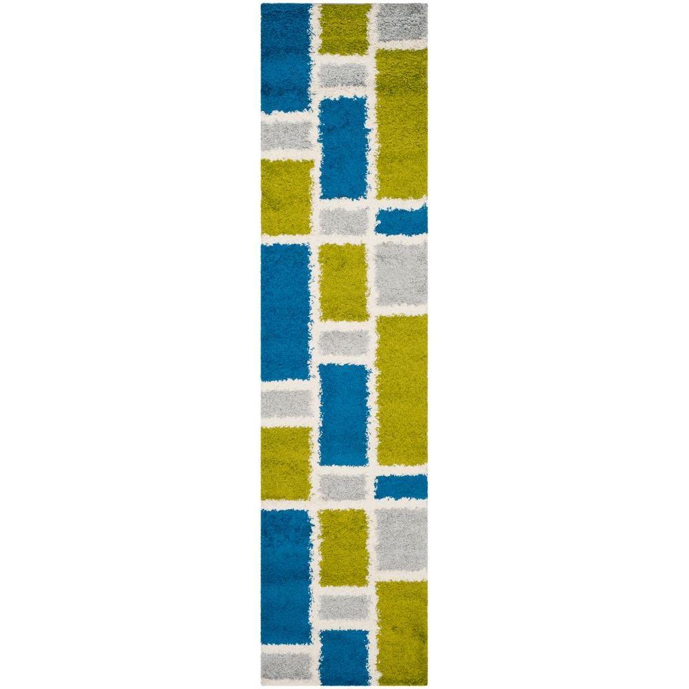 Safavieh Shag Blue/Green 2 ft. 3 in. x 9 ft. Rug Runner