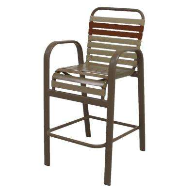 Marco Island Brownstone Commercial Grade Aluminum Bar Height Patio Dining  Chair With Putty And Saddle Vinyl Straps