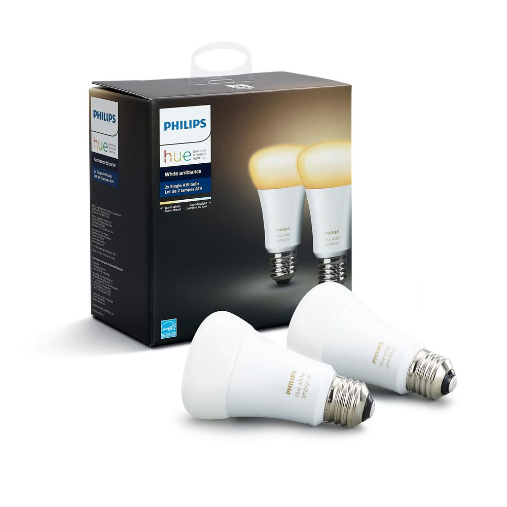Philips Hue White Ambiance A19 Led 60w Equivalent Dimmable Smart Wireless Light Bulb 2 Pack 453092 The Home Depot