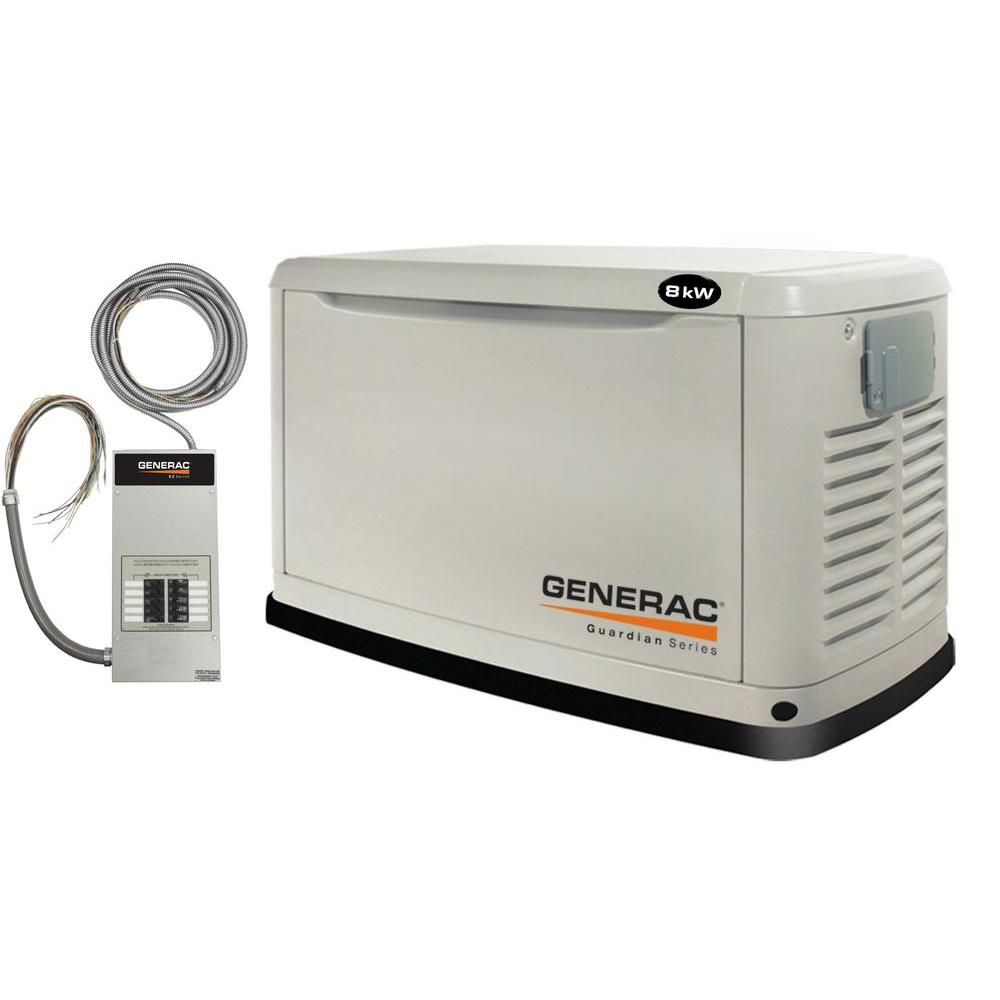 Generac 8,000-Watt Air Cooled Automatic Standby Generator with 50 Amp Pre-Wired 10-Circuit Transfer Switch
